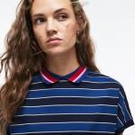 Womens Back Button Colorblock Striped Pique Polo