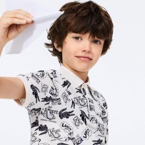 Boys' All-Over Croc Print Cotton Petit Pique Polo