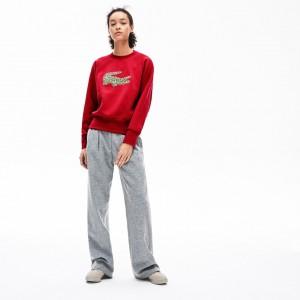 Womens Crewneck Multi Croc Logo Fleece Sweatshirt