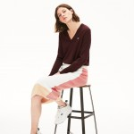 Womens Solid Cotton V-Neck Sweater