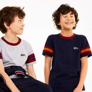 Boys Crewneck Contrast-Stripe Cotton T-Shirt