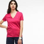 Womens Slim Fit V-Neck Cotton Jersey T-shirt