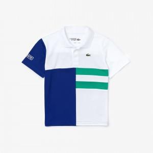 Boys Lacoste SPORT Colourblock Breathable Pique Tennis Polo Shirt