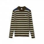 Womens LIVE Crew Neck Striped Interlock Sweater