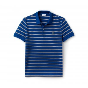 Mens Regular Fit Striped Pique Polo
