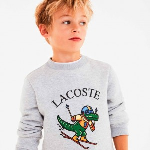 Boys Skiing Crocodile Print Fleece Sweatshirt Gift Set