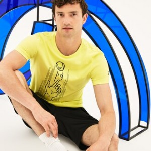 Mens SPORT Crew Neck Print Technical Jersey T-shirt - Lacoste x Novak Djokovic Support With Style - Off Court Collection