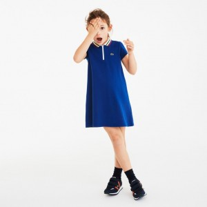 Girls Zip Neck Cotton Pique Polo Dress