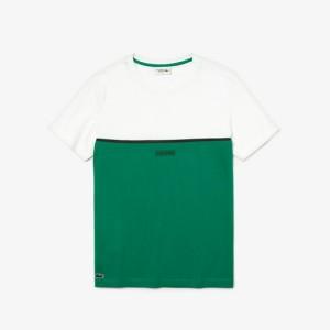 Mens Lacoste SPORT Crew Neck 3D Lettering Colourblock T-shirt