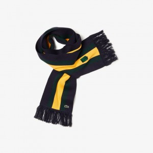 Unisex Lacoste LIVE Striped Cashmere And Cotton Scarf