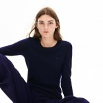 Womens Notched Crew Neck Wool Sweater