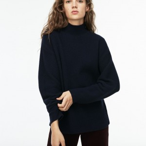 Womens Stand-Up Collar Ribbed Wool And Cashmere Sweater