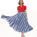Womens MultiColor Striped Pleated Skirt