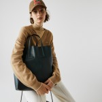 Womens Fashion Show Two-Tone Leather Double Tote