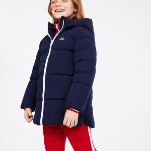 Girls Stand-Up Collar Zippered Hooded Jacket