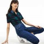 Womens Tartan Check Cotton Jacquard Polo