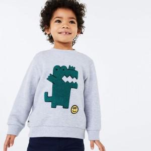 Boys' Embroidered Crocodile Cotton Fleece Sweatshirt