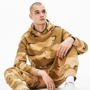 Mens LIVE Hooded Camo Print Fleece Sweatshirt