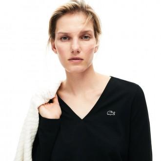 Womens V-neck Flowing Cotton Jersey T-shirt