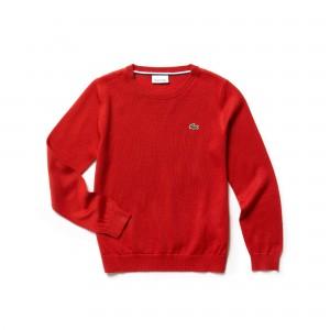 Boys Crew Neck Wool Blend Jersey Sweater