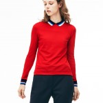 Womens Slim Fit Polo With Striped Ribbing