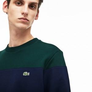 Mens Crew Neck Colorblock Cotton Fleece Sweatshirt