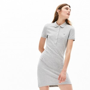 Womens Stretch Cotton Mini Pique Polo Dress