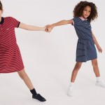 Girls Fitted Striped Cotton Pique Polo Dress