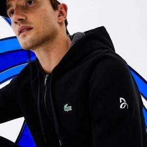 Mens SPORT Technical Fleece Hooded Zip Sweatshirt - Lacoste x Novak Djokovic Off Court Premium Edition