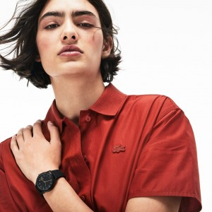 Ladies Lacoste.12.12 Watch with Black Silicone Petit Pique Strap