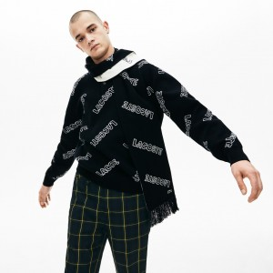 Mens Lacoste LIVE Lettering Cashmere And Cotton Scarf