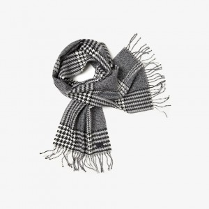 Mens Fringed Houndstooth Jacquard Wool Scarf