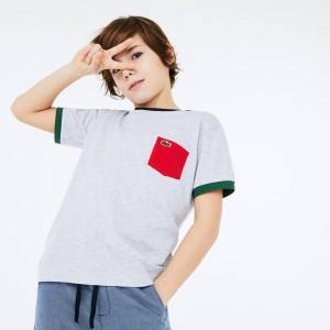 Boys' Crew Neck Contrast Accent Cotton T-shirt