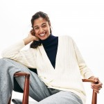 Womens Wool And Cashmere Blend Cable Knit Cardigan