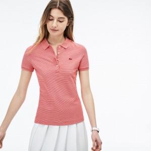 Womens Slim Fit Pinstriped Pique Polo