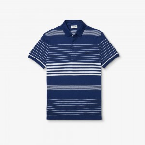 Mens Striped Linen And Cotton Regular Fit Polo Shirt