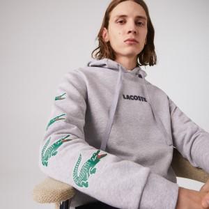 Mens Lacoste SPORT Crocodile Print Hooded Cotton Sweatshirt