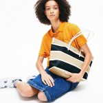 Womens L.12.12 Concept Coated Striped Canvas Zip Tote Bag