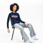 Womens Crewneck 3D-Lettering Cotton Blend Fleece Sweatshirt