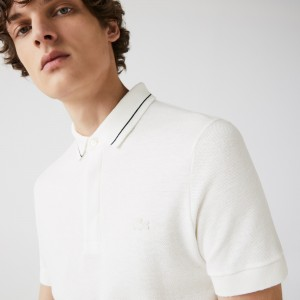 Mens Regular Fit Linen-Blend Polo Shirt