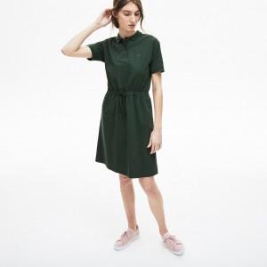 Womens Flowing Gabardine Polo Dress