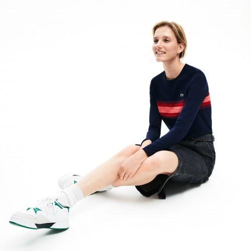 라코스테 Womens Long Sleeve Multicolor Stripe T-Shirt