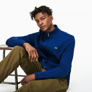 Mens Zippered Stand-up Collar Fleece Sweatshirt