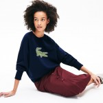 Womens Crewneck Multi Croc Logo Fleece Sweatshirt