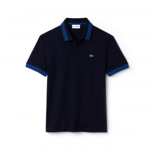 Mens Slim Fit Contrast Pima Pique Polo