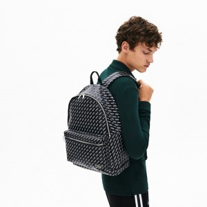 Mens Lacoste LIVE Coated Print Canvas Backpack