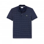 Mens Slim Fit Print Mini Pique Polo