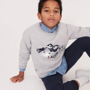Boys Crew Neck Print Fleece Sweatshirt