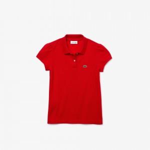 Girls' Scalloped Collar Cotton Petit Pique Polo