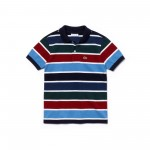 Boys Striped Cotton Pique Polo